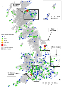 Figure 1: Location of study regions & distribution of glass beads (Background: Crown Copyright/database right 2012, contains Ordanance Survey data, and EDINA supplied service).